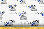 """Ткань хлопковая """"Мишки Boy в кепке"""" на белом фоне  №1601а, фото 2"""