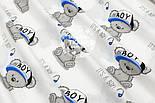 """Ткань хлопковая """"Мишки Boy в кепке"""" на белом фоне  №1601а, фото 4"""
