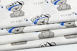"""Ткань хлопковая """"Мишки Boy в кепке"""" на белом фоне  №1601а, фото 5"""