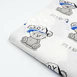 """Ткань хлопковая """"Мишки Boy в кепке"""" на белом фоне  №1601а, фото 6"""