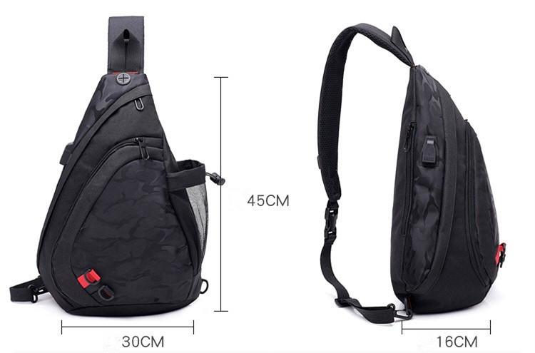 1a7fb617ba12 Мужской рюкзак слинг на плечо с USB портом.Городской рюкзак cross body. ...