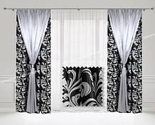 Комплект Двойных штор Гобелен + Атлас