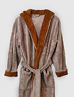 Халат махровый мужской длинный светло-коричневого цвета с капюшоном и карманами XL, 2XL, фото 1