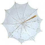 Зонтик свадебный кружевной белый, фото 2