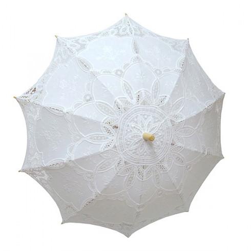 Зонтик свадебный кружевной белый