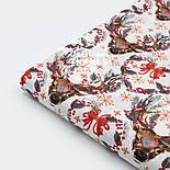 """Ткань новогодняя """"Олени с серыми ветками на рогах"""" на белом, № 1594а, фото 6"""