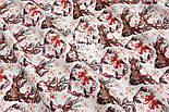 """Ткань новогодняя """"Олени с серыми ветками на рогах"""" на белом, № 1594а, фото 2"""
