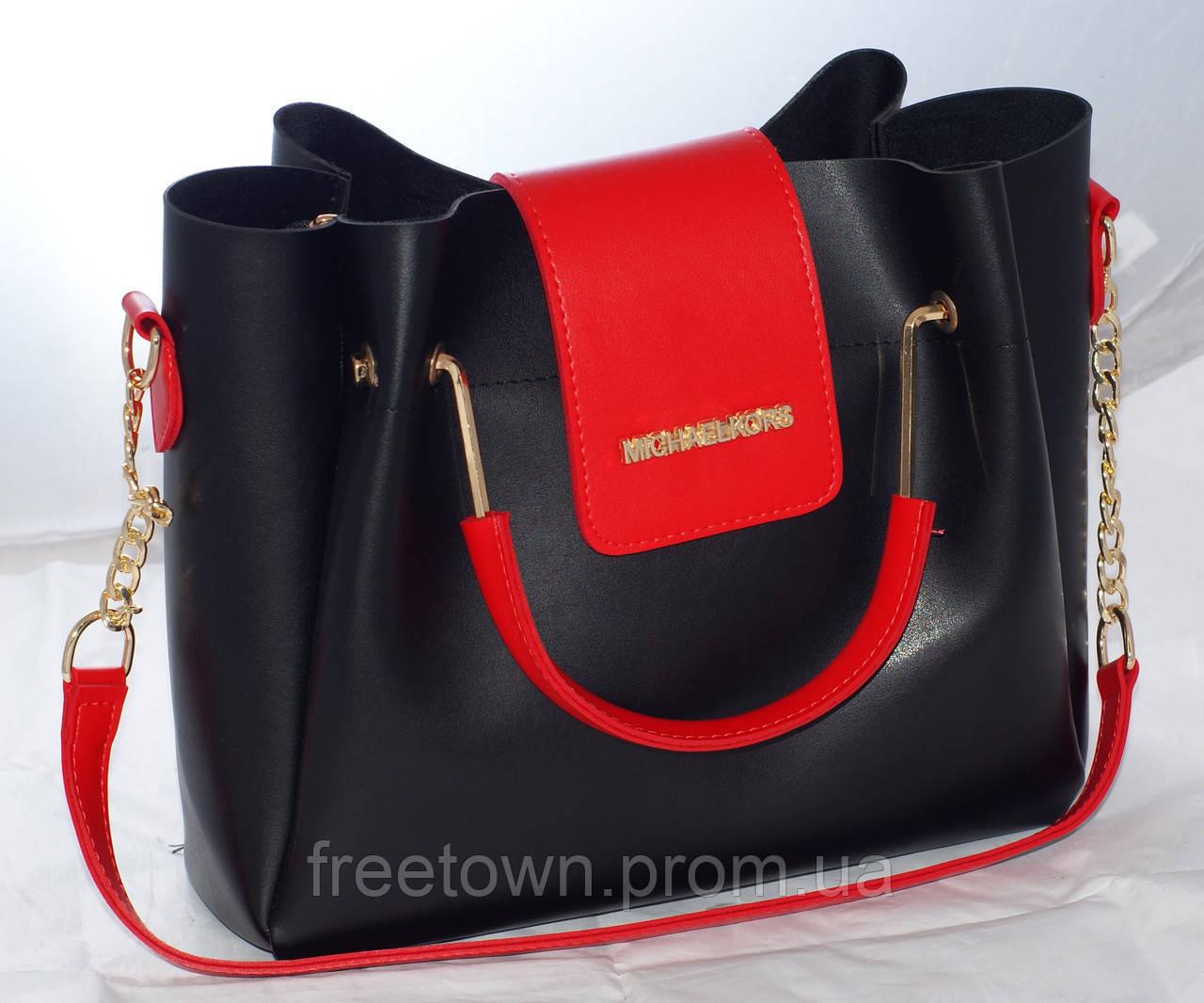 Женская сумка Michael Kors (Майкл Корс), черная с красным   продажа ... 5aa1e68c541