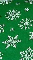 Ткань новогодняя. Хлопок снежинки на зеленом (изумрудном) фоне. Отрез 50х40см