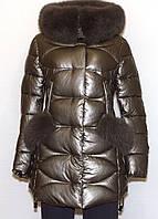 Модная зимняя куртка экокожа Qarlevar 6075 (бронза) 219659749d1a6