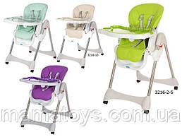 Детский стульчик для кормления Bambi 3216 Ремень безопасности, 3 положения наклона 5 полож выс