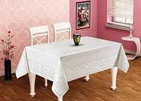 Скатерть тефлоновая  300х160 на праздничный стол белого  цвета