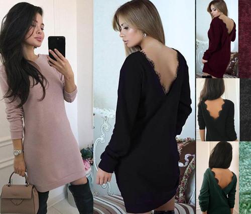 b44b91544e8 Купить Платье короткое с открытой спиной длинный рукав р 42 по 50 ...