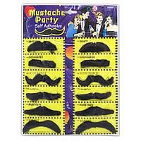 Усы накладные мужские черные набор 12 шт