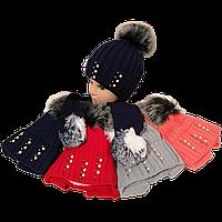 Детская шапка вязанная с флисом для девочек 3-6 лет. С помпоном и длинными ушами-завязками Украина 85-33
