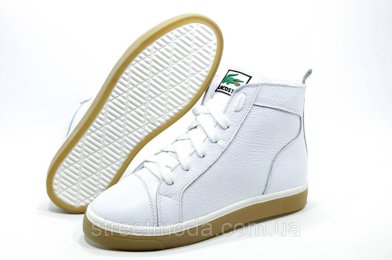 1b017b9d0c93 Женские зимние ботинки в стиле Lacoste, Белые - Интернет-магазин