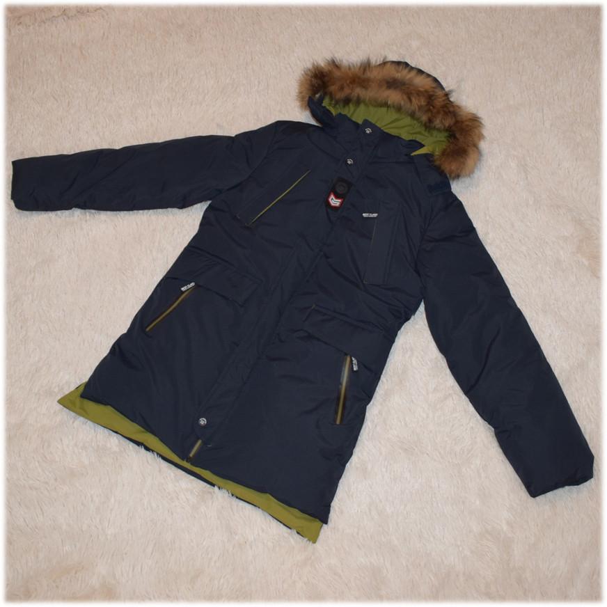 Куртка зима с капюшоном для мальчика синяя размер 140 146 152 158 164 176