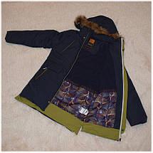 Куртка зима с капюшоном для мальчика синяя размер 140 146 152 158 164 176, фото 3