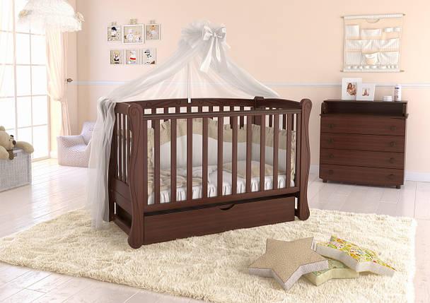 """Детская кроватка  Angelo Lux-1 Цвет  """"темный орех"""", фото 2"""