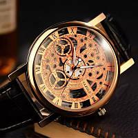 Часы мужские наручные кварцевые с чёрным ремешком (золотистый циферблат)