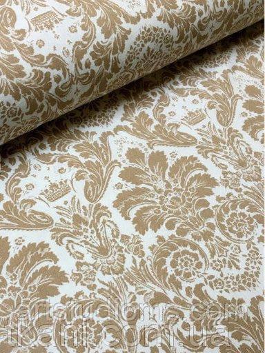 Ткань. Хлопок Дамаск коричневый на белом фоне. Отрез 50х40см