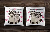 Парные подушки с енотами