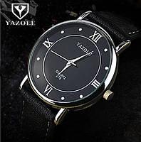 Часы мужские наручные кварцевые с чёрным ремешком и белой строчкой (чёрный циферблат)
