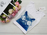 """Женская блуза-топ, майка """"Кот"""" из микродайвинга, размеры 42, 44, 46, 48."""