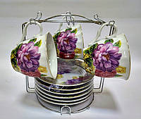 """Набір чайний ТМ Оселя 22-22-008 """"Великі квіти"""" 13 предметів, фото 1"""