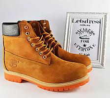 Мужские кожаные ботинки Timberland Classic  6 inch  Тимберленд  бежевые коричневые