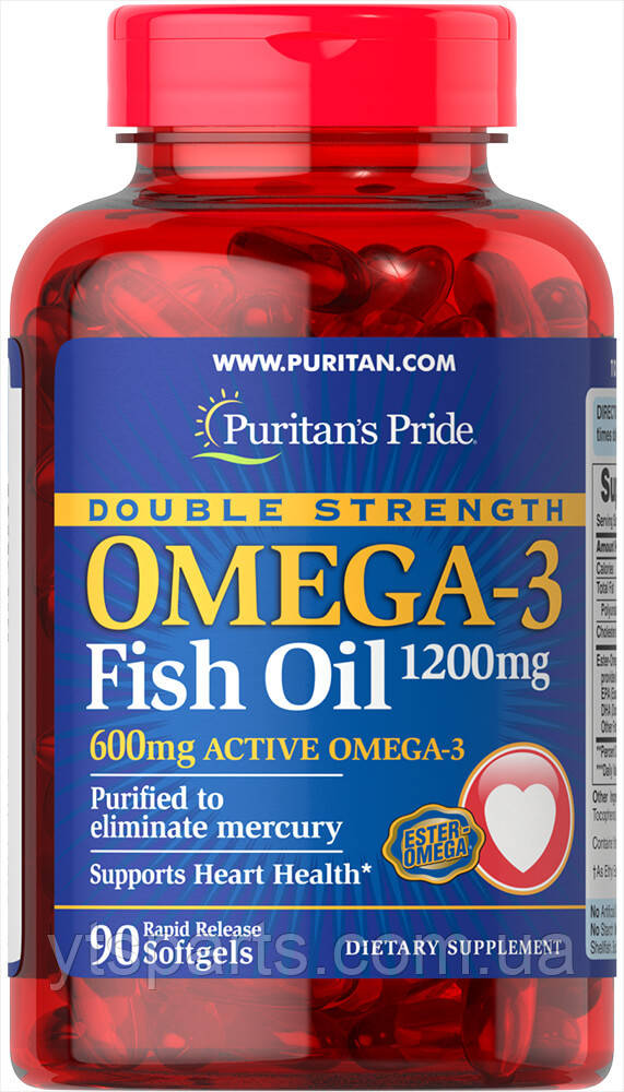 Puritans Pride Double Strength Omega-3 Fish Oil 1200 mg 90 sofgels