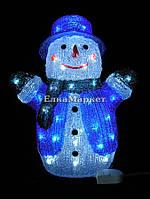 Акриловая фигура «Снеговик» холодные белые LED огни, 40см.