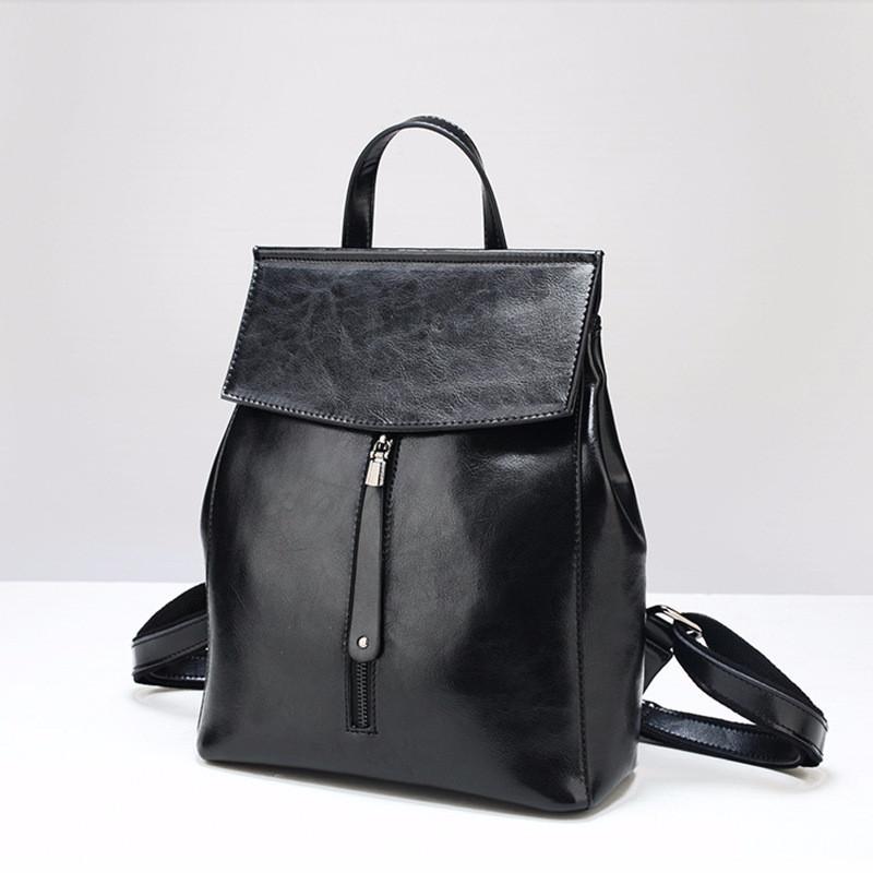 c31f8a47cbdd Женский Стильный Рюкзак-сумка Черный Из Натуральной Кожи — в ...