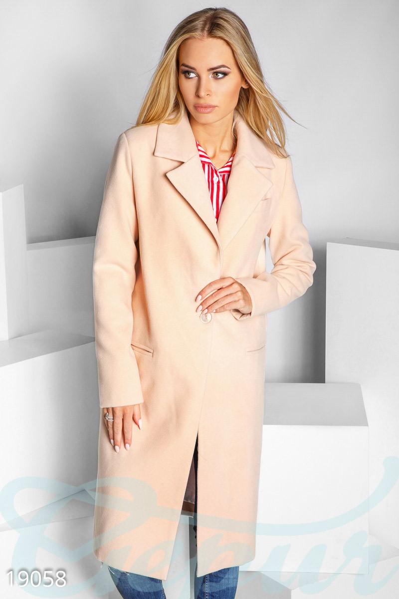 Однобортное пальто прямого кроя из кашемира