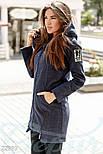 Короткое демисезонное пальто с капюшоном синего цвета, фото 2