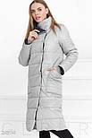 Теплое стеганное пальто серого цвета, фото 2