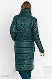 Теплое стеганное пальто зеленого цвета, фото 3