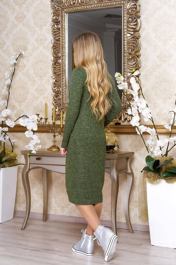 Женское теплое платье из ангоры хаки, фото 2