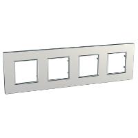 Рамка четырехместная Серебряный Schneider Electric Unica Quadro (mgu6.708.55), фото 1