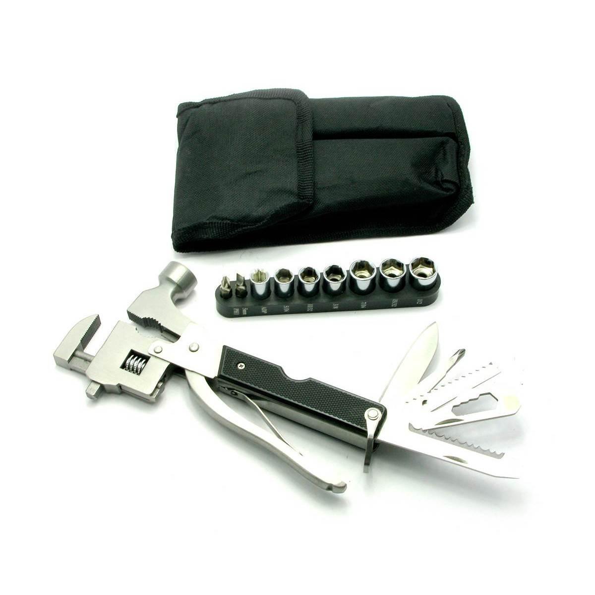 Разводной ключ, молоток с набором инструментов