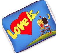 Подушка Love is голубая -подарки на 14 февраля