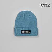 Шапка Adidas Originals Fisherman Beanie, зимняя теплая, цвет светло-синий, фото 1