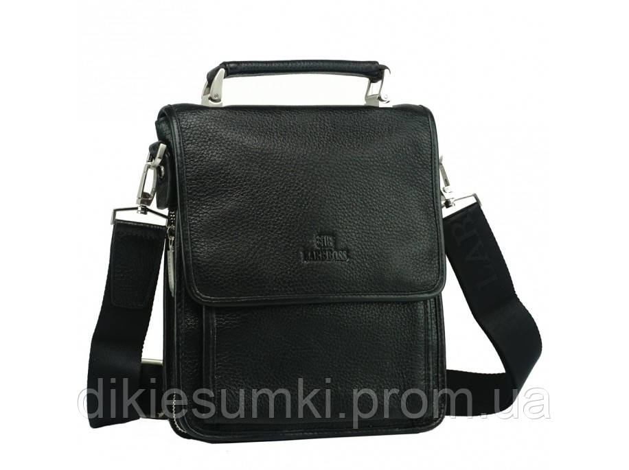 8e85b45cbb9a Мужская кожаная сумка на плечо Lare Boss 49617-2 BLACK в Интернет ...