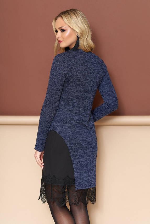 Трикотажное платье двойка из ангоры синее, фото 2