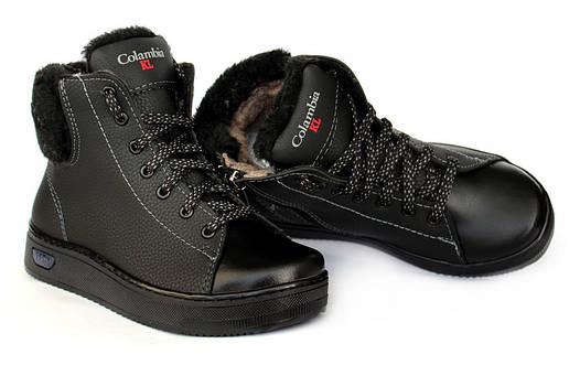 42р Жіночі зимові черевики чорного кольору на платформі (КЛЖ-2ч ... cca307e4e2400