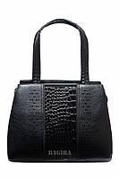 Женская сумка-саквояж с лаковой вставкой под кожу рептилии (черная/ голубая)
