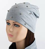 Трикотажная шапка-колпак на флисе Бусы светло-серого цвета