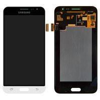 Дисплей для мобильного телефона Samsung J320H/DS Galaxy J3 (2016), белый, с сенсорным экраном, Original (PRC), dragontrail Glass, original glass