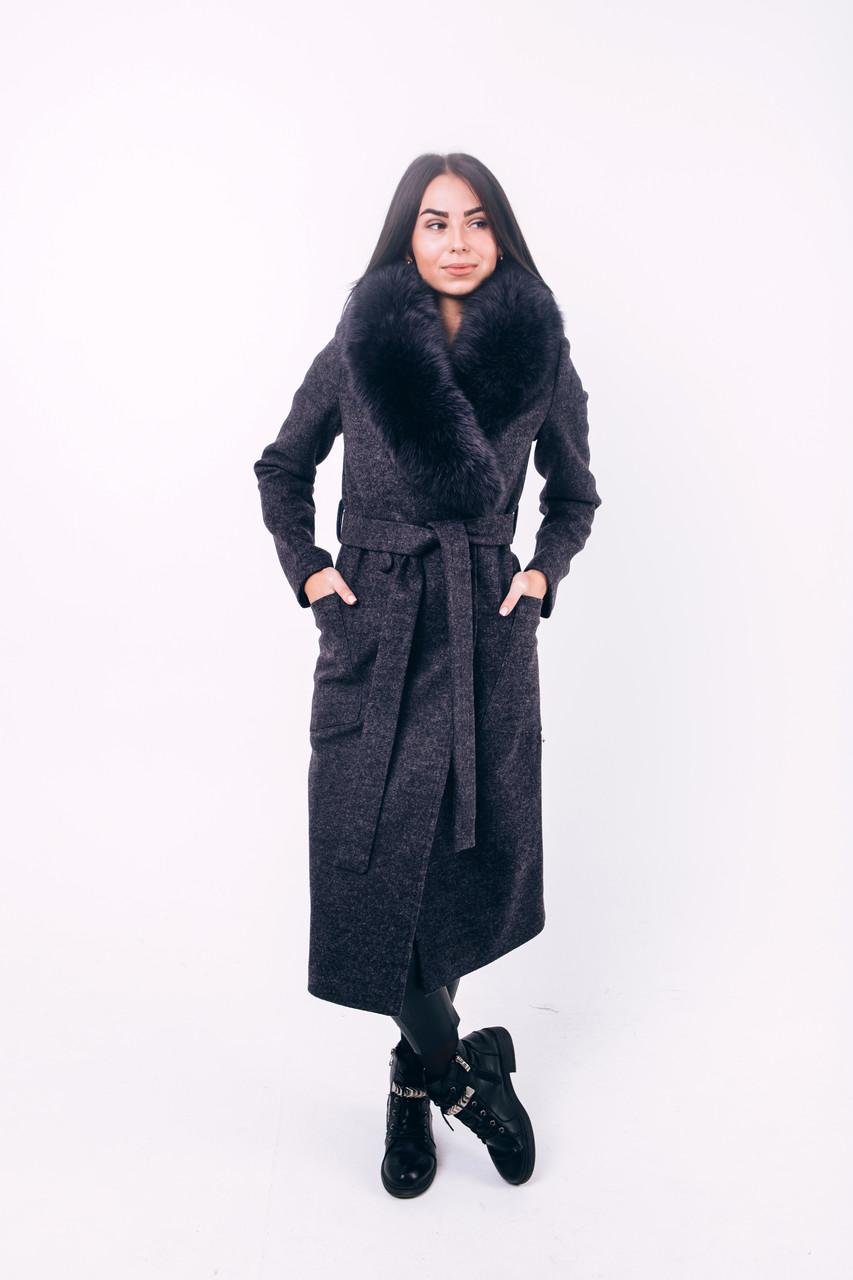 Пальто зимнее графит с мехом O.Z.Z.E Д271