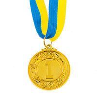Медаль наградная с лентой, d=45 мм, золото